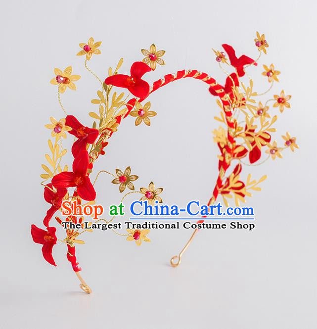 Top Grade Bride Wedding Hair Accessories Red Flowers Hair Clasp for Women