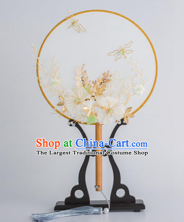 Chinese Traditional Palace Fans Ancient Bride Wedding White Silk Flower Round Fans for Women