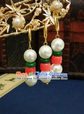 Chinese Ancient White Pearls Earrings Qing Dynasty Manchu Palace Lady Ear Accessories for Women