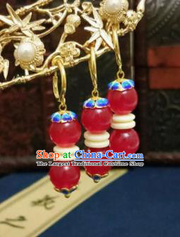 Chinese Ancient Red Beads Blueing Earrings Qing Dynasty Manchu Palace Lady Ear Accessories for Women