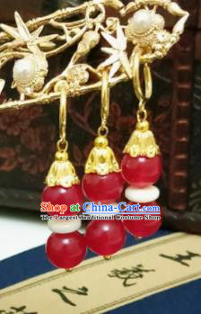 Chinese Ancient Red Beads Earrings Qing Dynasty Manchu Palace Lady Ear Accessories for Women