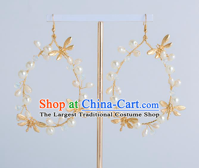 Top Grade Bride Wedding Jewelry Accessories Golden Dragonfly Earrings for Women