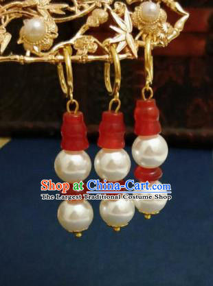Chinese Ancient Agate Pearls Earrings Qing Dynasty Manchu Palace Lady Ear Accessories for Women