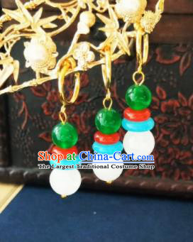 Chinese Ancient White and Green Beads Earrings Qing Dynasty Manchu Palace Lady Three Strings Ear Accessories for Women