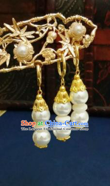 Chinese Ancient Pearls Earrings Qing Dynasty Manchu Palace Lady Ear Accessories for Women