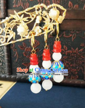 Chinese Ancient Three Strings Blueing Beads Earrings Qing Dynasty Manchu Palace Lady Ear Accessories for Women