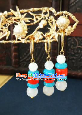 Chinese Ancient Three Strings Beads Earrings Qing Dynasty Manchu Palace Lady Ear Accessories for Women