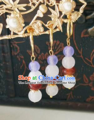 Chinese Ancient Earrings Qing Dynasty Manchu Palace Lady Three Strings Purple Beads Ear Accessories for Women