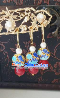 Chinese Ancient Earrings Qing Dynasty Manchu Palace Lady Three Strings Cloisonne Ear Accessories for Women