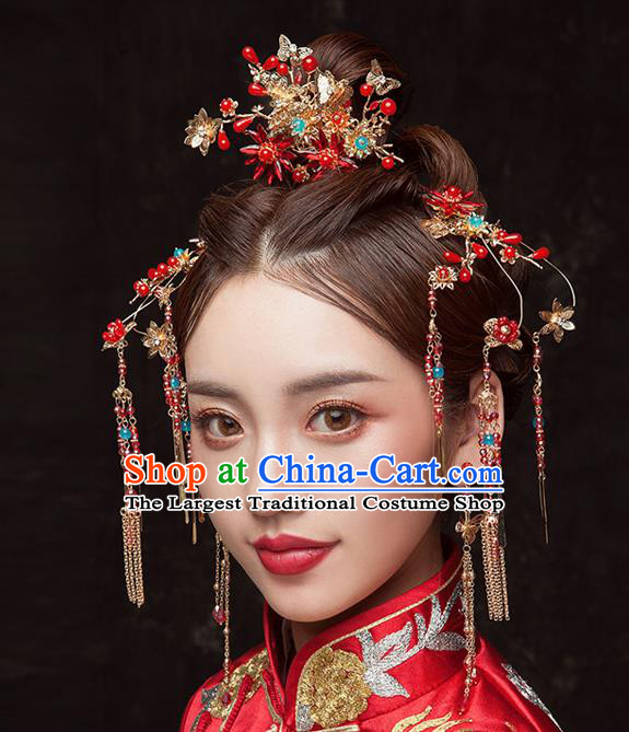 Chinese Traditional Wedding Bride Tassel Hair Clips Ancient Hair Accessories Hairpins for Women