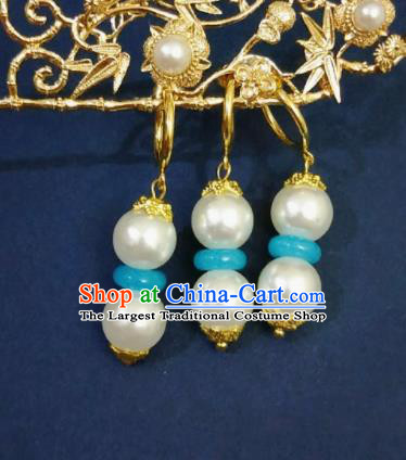 Chinese Ancient Beads Earrings Qing Dynasty Manchu Palace Lady Three Strings Ear Accessories for Women