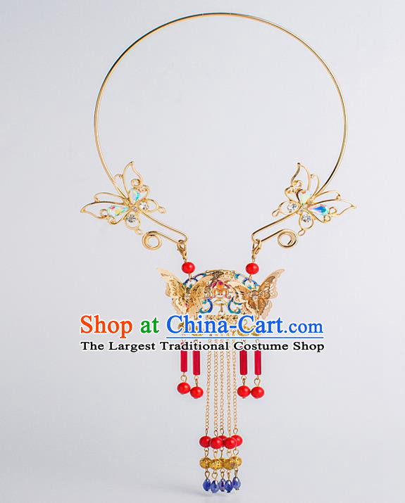 Top Grade Chinese Bride Wedding Accessories Golden Blueing Necklace for Women