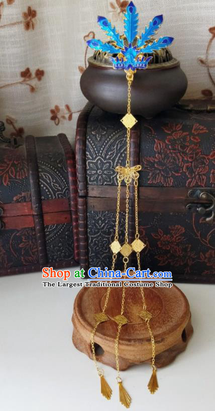 Chinese Ancient Cloisonne Phoenix Tassel Hair Comb Qing Dynasty Hair Accessories Hairpins for Women