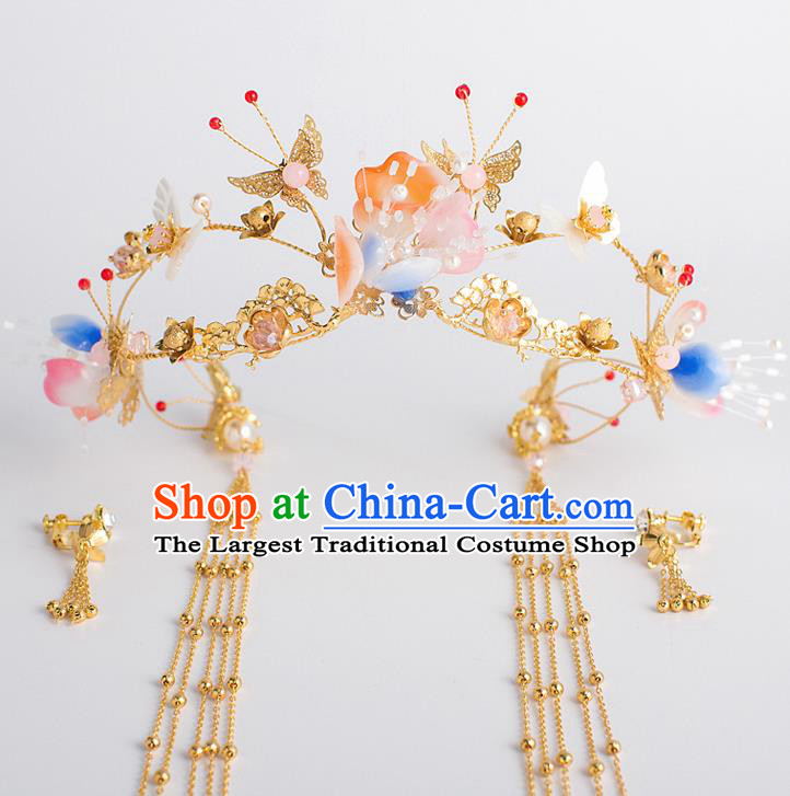 Chinese Traditional Wedding Bride Butterfly Phoenix Coronet Ancient Hair Accessories Hairpins for Women