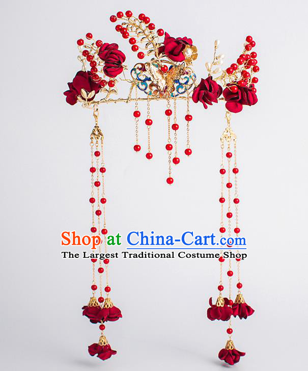 Chinese Traditional Wedding Bride Red Rose Phoenix Coronet Ancient Hair Accessories Hairpins for Women