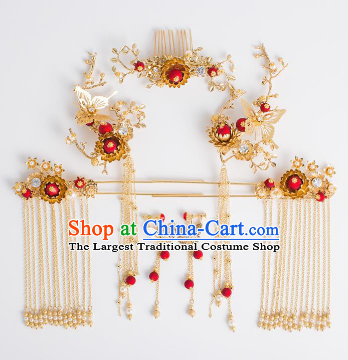 Chinese Traditional Wedding Bride Butterfly Hair Comb Ancient Hair Accessories Hairpins for Women