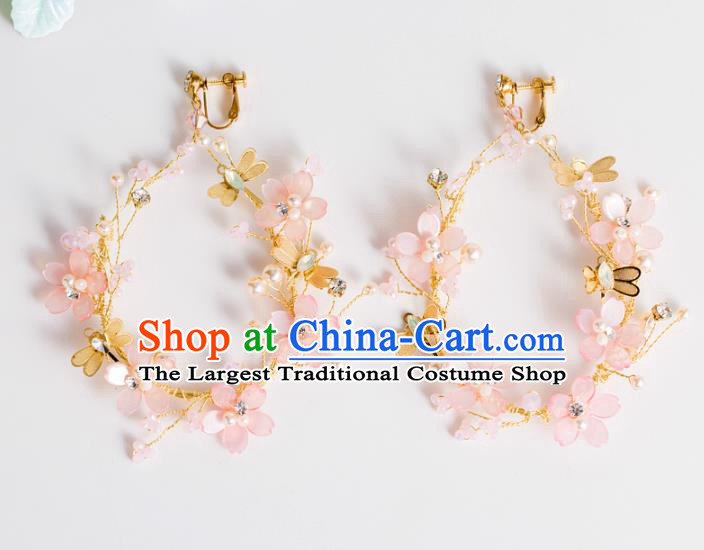 Top Grade Chinese Bride Wedding Accessories Pink Flowers Earrings for Women