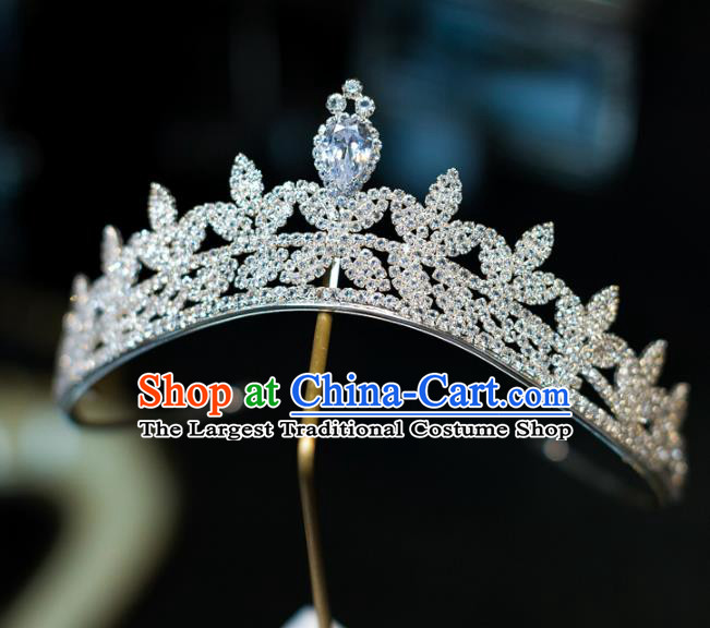 Top Grade Baroque Princess Zircon Royal Crown Wedding Bride Hair Accessories for Women