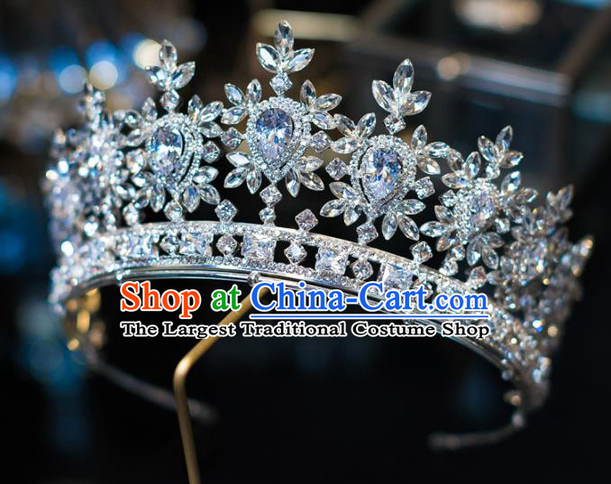 Top Grade Baroque Princess Headwear Zircon Royal Crown Wedding Bride Hair Accessories for Women