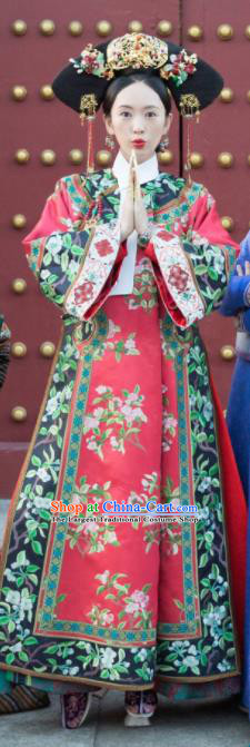 Chinese Ancient Qing Dynasty Ruyi Royal Love in the Palace Imperial Consort Costume and Headpiece Complete Set