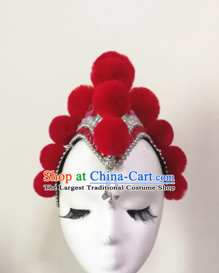 Chinese Traditional Folk Dance Hair Accessories Classical Dance Red Headwear for Women