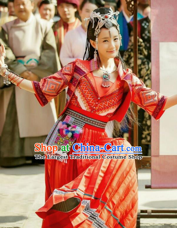 Chinese Ancient Young Lady Costume Traditional National Minority Dress for Women