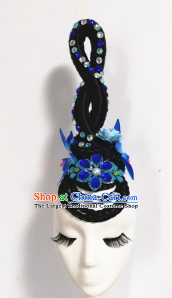 Chinese Traditional Classical Dance Blue Flower Hair Accessories Folk Dance Headwear and Wigs for Women