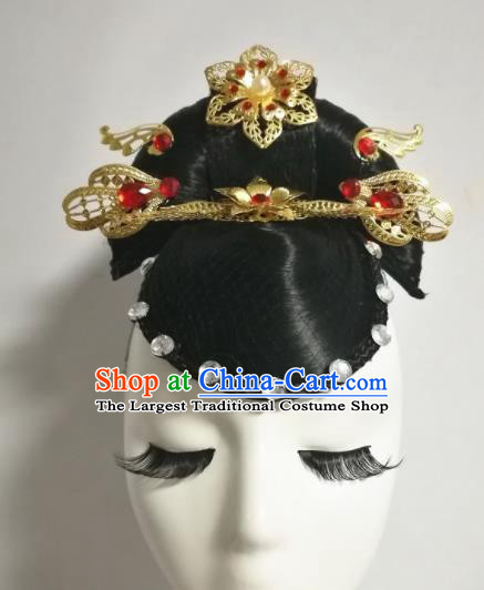 Chinese Traditional Classical Dance Hair Accessories Folk Dance Wig and Headwear for Women