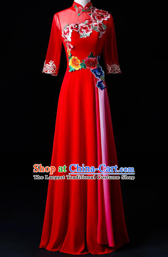 Chinese Traditional National Red Cheongsam Compere Chorus Costume Folk Dance Full Dress for Women