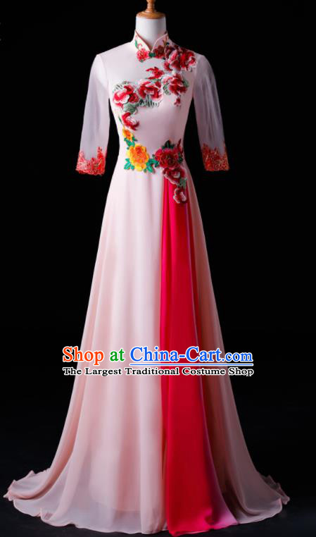 Chinese Traditional National Pink Cheongsam Compere Chorus Costume Folk Dance Full Dress for Women