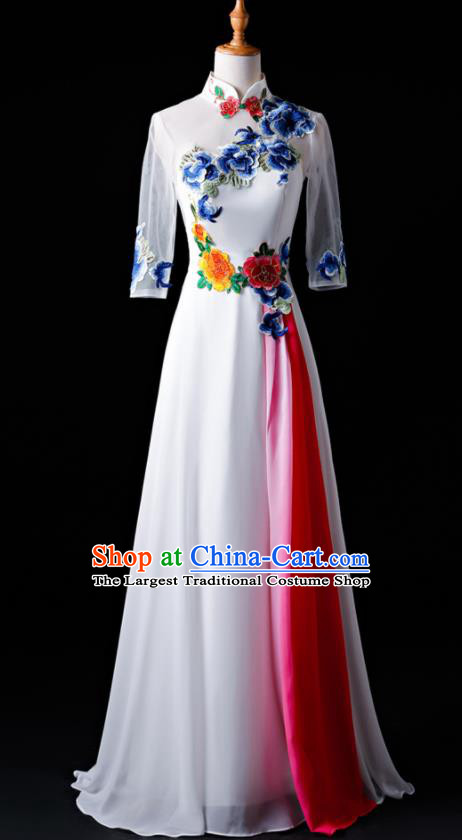 Chinese Traditional National White Cheongsam Compere Chorus Costume Folk Dance Full Dress for Women