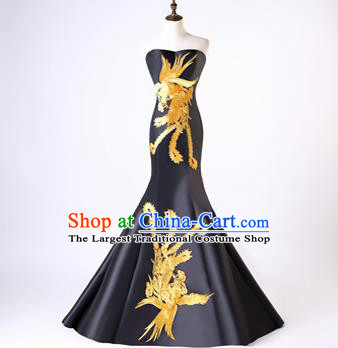 Chinese Traditional Phoenix Pattern Black Mermaid Full Dress Compere Chorus Costume for Women