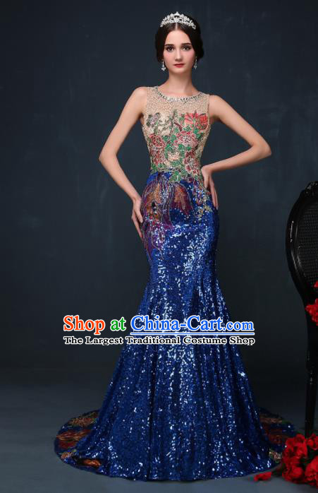 Chinese Traditional Compere Royalblue Full Dress Chorus Costume for Women