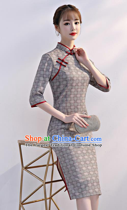 Chinese Traditional Full Dress Grey Cheongsam Compere Costume for Women