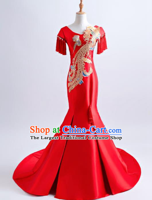 Chinese Traditional Embroidered Phoenix Red Full Dress Compere Chorus Costume for Women