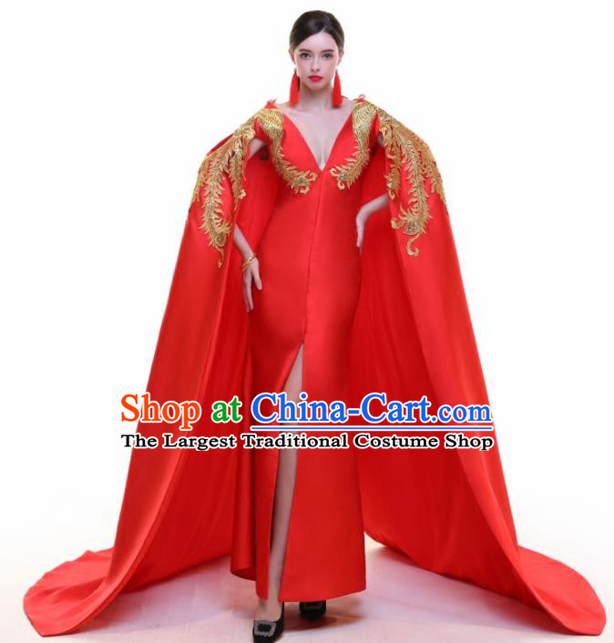 Chinese Traditional Embroidered Phoenix Red Cloak Full Dress Compere Chorus Costume for Women