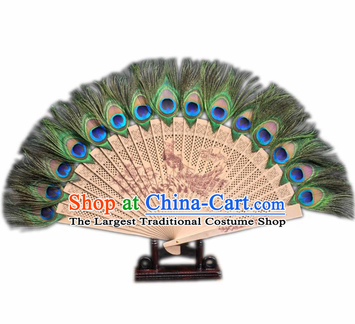 Chinese Traditional Craft Fans Peacock Feather Folding Fan for Women
