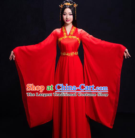 Chinese Traditional Ancient Fairy Red Dress Classical Dance Costume for Women