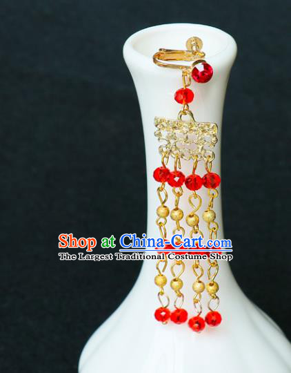 Chinese Traditional Jewelry Accessories Ancient Red Beads Tassel Earrings for Women