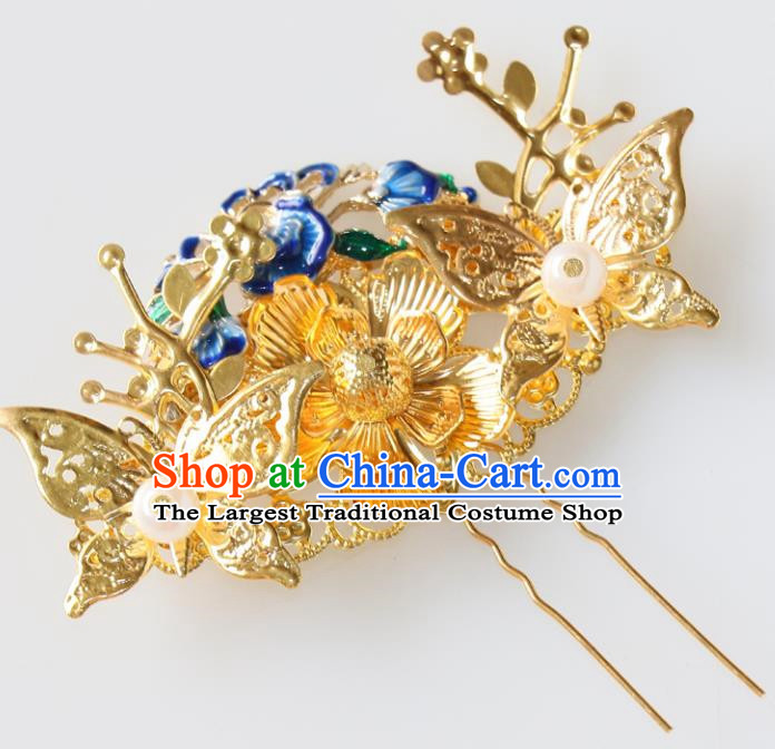 Chinese Traditional Hair Accessories Ancient Butterfly Hair Clip Blueing Hairpins for Women