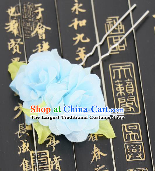 Chinese Traditional Hair Accessories Ancient Tang Dynasty Blue Peony Hairpins for Women