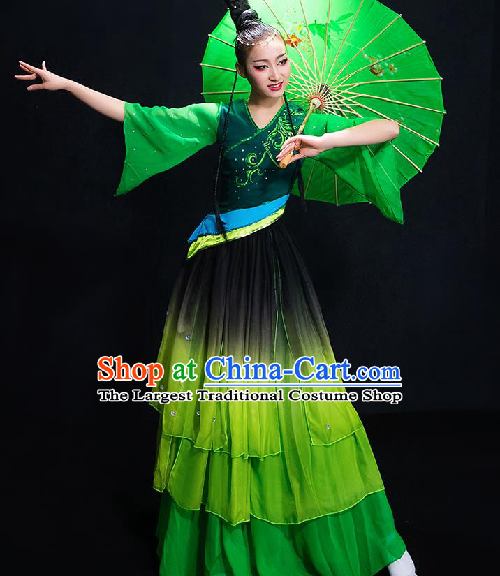 Chinese Traditional Classical Fan Dance Green Dress Umbrella Dance Costume for Women
