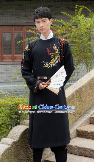 Chinese Traditional Ming Dynasty Swordsman Costume Ancient Embroidered Black Robe for Men