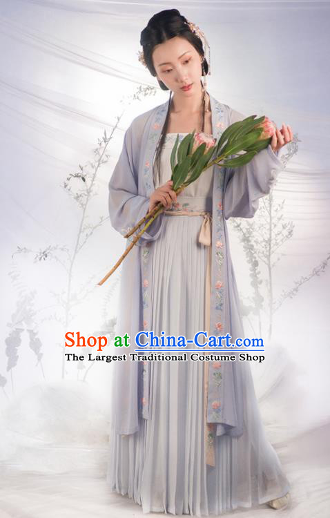 Traditional Chinese Song Dynasty Purple Costumes Ancient Fairy Embroidered Hanfu Dress for Women