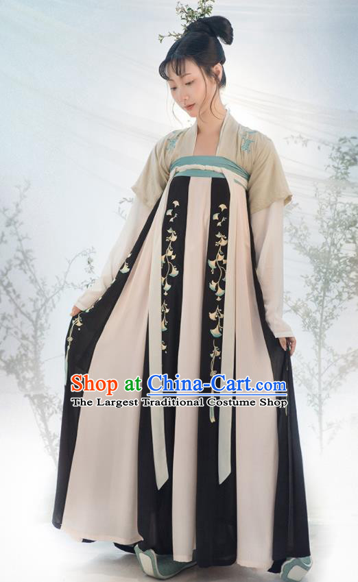 Traditional Chinese Tang Dynasty Princess Costumes Ancient Fairy Embroidered Black Hanfu Dress for Women