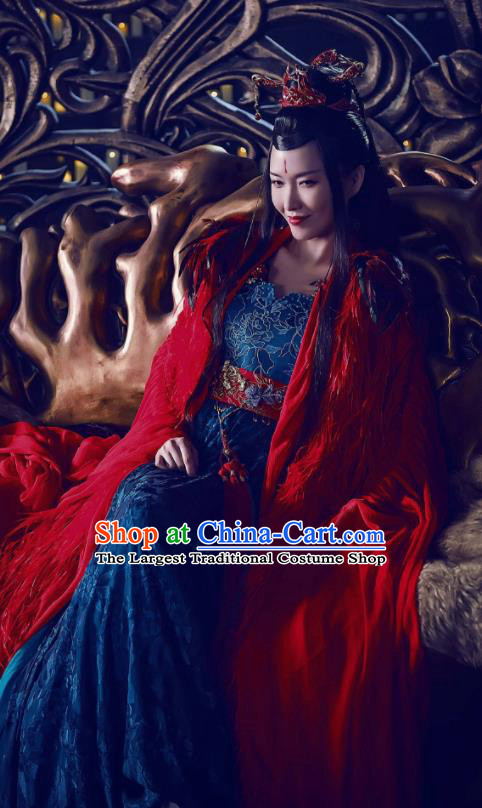 Chinese Traditional Ancient Imperial Empress Embroidered Costumes and Headpiece Complete Set