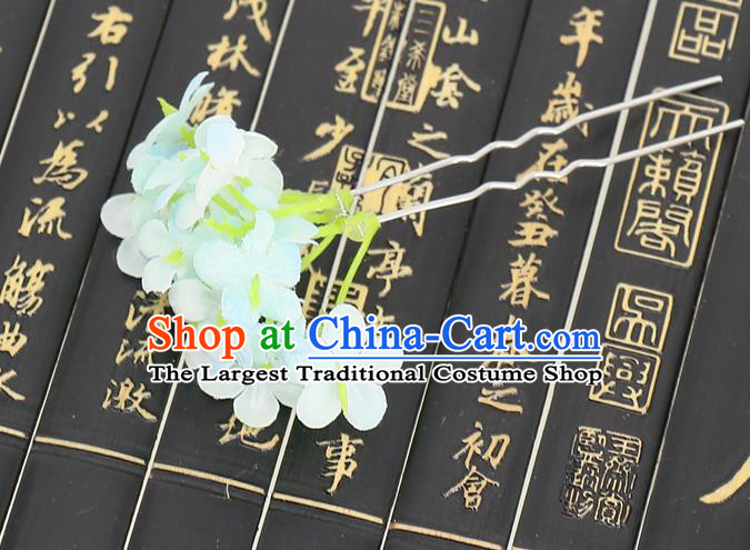Chinese Traditional Hair Accessories Ancient Tang Dynasty Green Flowers Hairpins for Women