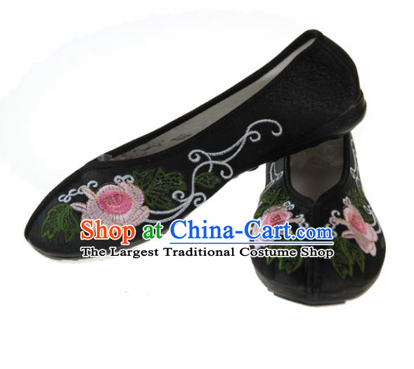 Asian Chinese Ancient Black Blood Stained Shoes Traditional Embroidered Shoes for Women