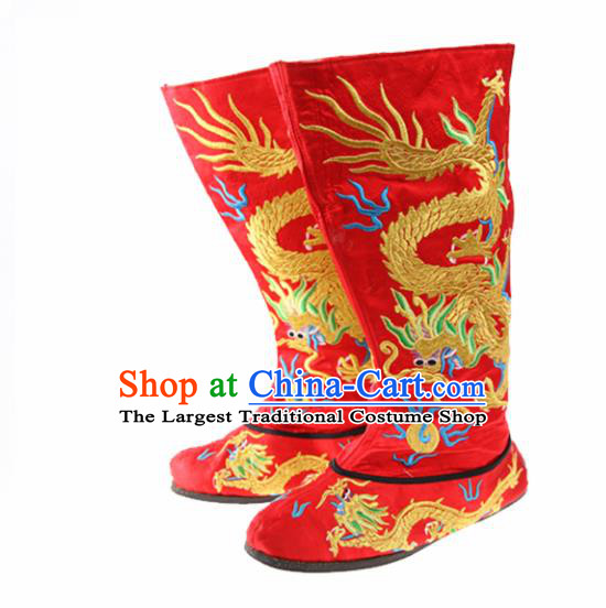 Asian Chinese Traditional Red Boots Ancient Emperor Embroidered Shoes for Men