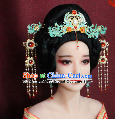 Chinese Ancient Queen Hair Accessories Imperial Empress Blueing Phoenix Coronet Hairpins for Women